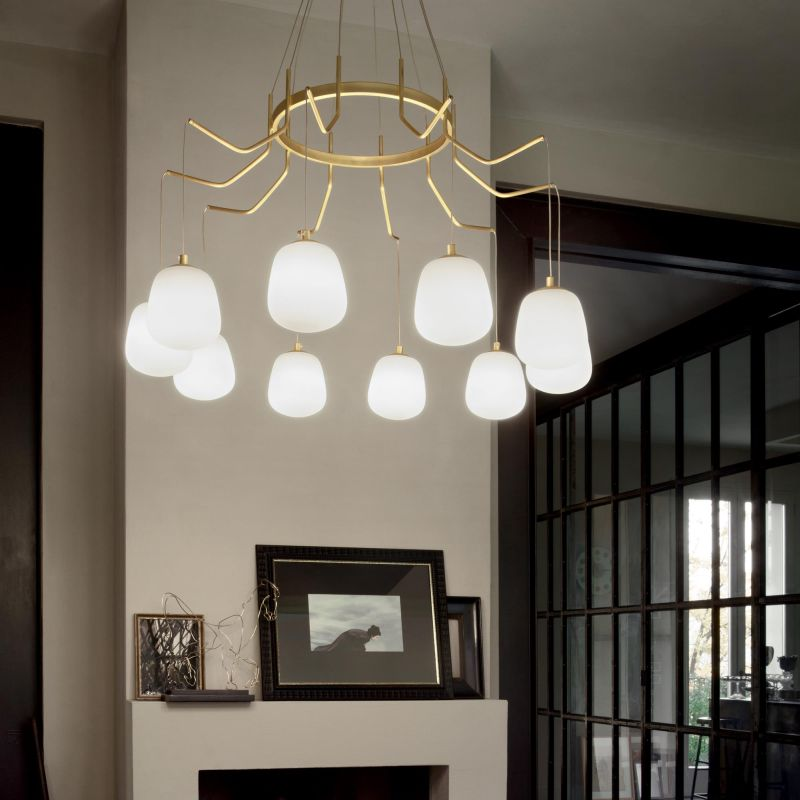 IdealLux-206394 - Karousel - White Glass with Satin Brass 10 Light Centre Fitting