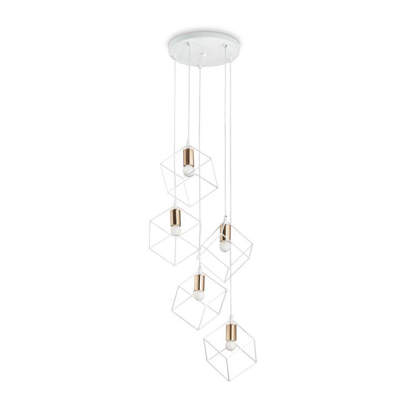 IdealLux-237671 - Ice - White & Gold 5 Light Cluster Pendant