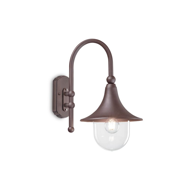 Ideal Lux-246826 - Cima - Outdoor Coffee and Clear Wall Lamp