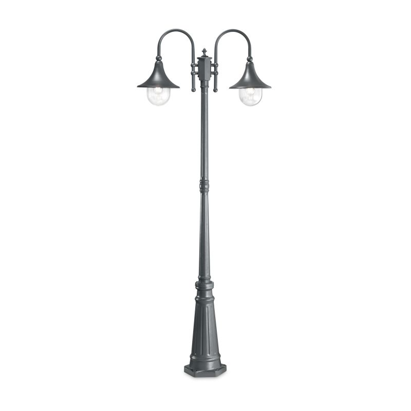 IdealLux-246833 - Cima - Outdoor Anthracite and Clear 2 Light Post