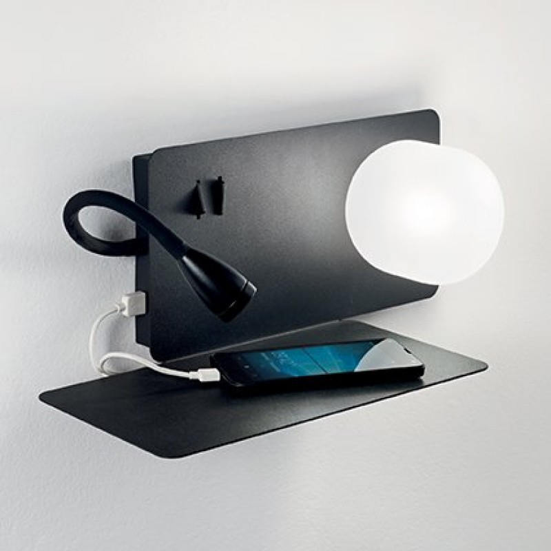IdealLux-174846 - Book - Black Wall Lamp with USB Socket - Right side shelf