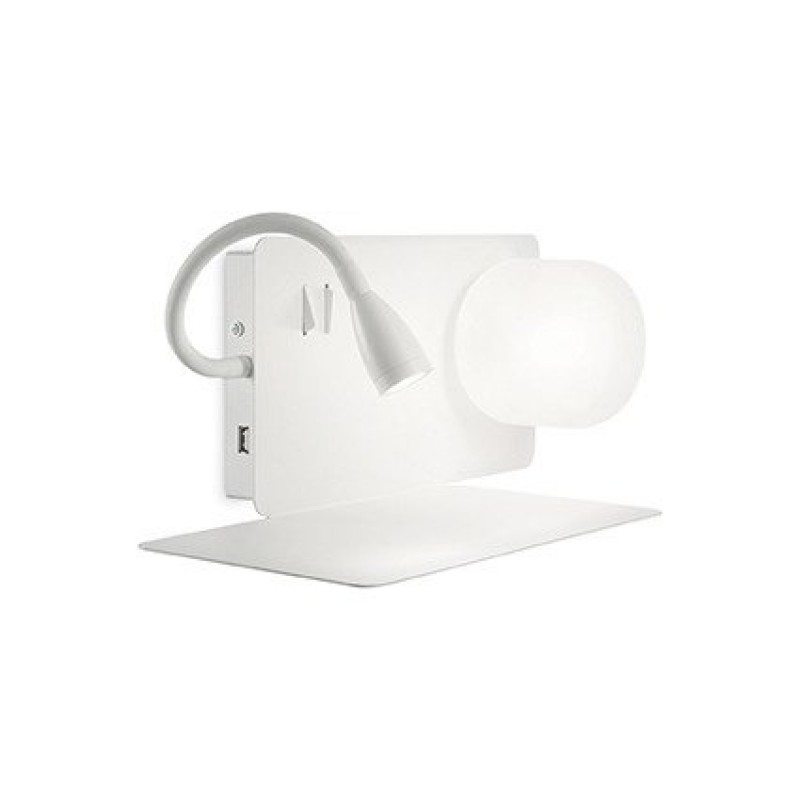 IdealLux-174792 - Book - White Wall Lamp with USB Socket - Left side shelf