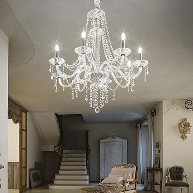 IdealLux-168777 - Amadeus - Transparent Glass with Crystal 8 Light Chandelier