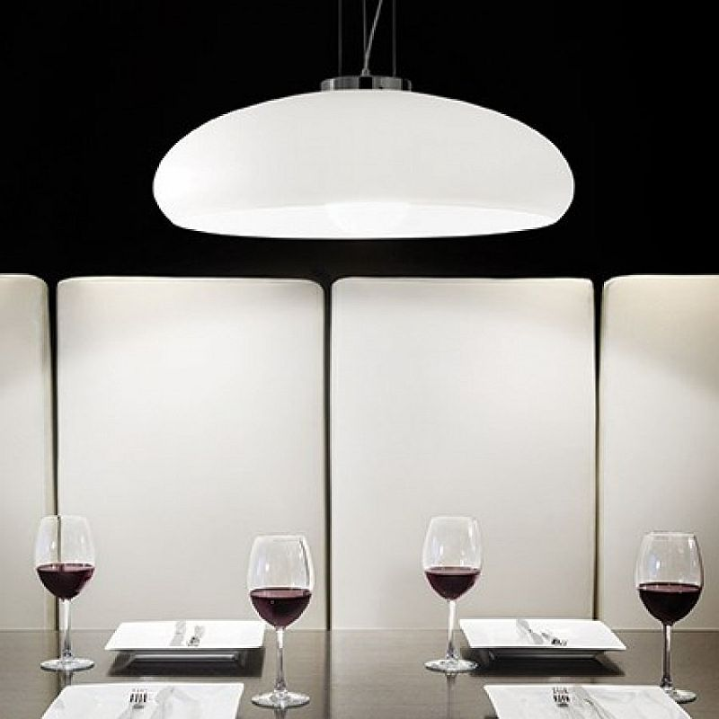 IdealLux-059679 - Aria - Small White Frosted Glass Single Hanging Pendant