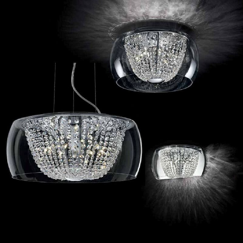 IdealLux-133881 - Audi-61 - Crystal with Clear Glass 8 Light Hanging Pendant