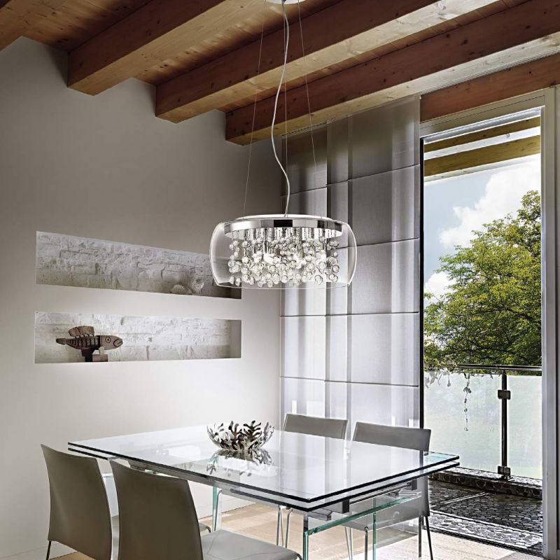 IdealLux-031743 - Audi-80 - Clear Glass with Crystal 5 Light Pendant