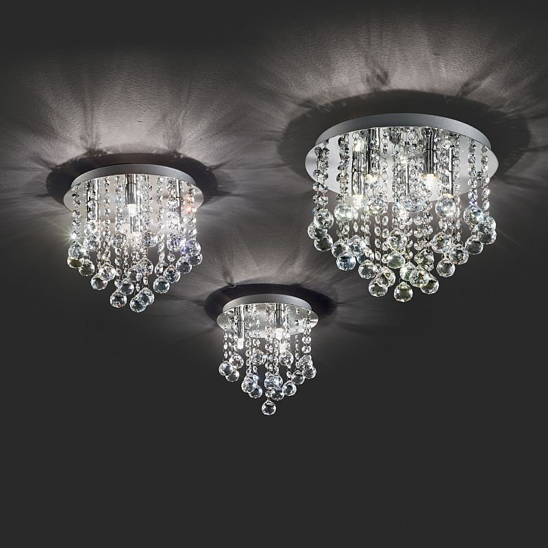IdealLux-089478 - Bijoux - Crystal with Chrome 4 Light Ceiling Lamp