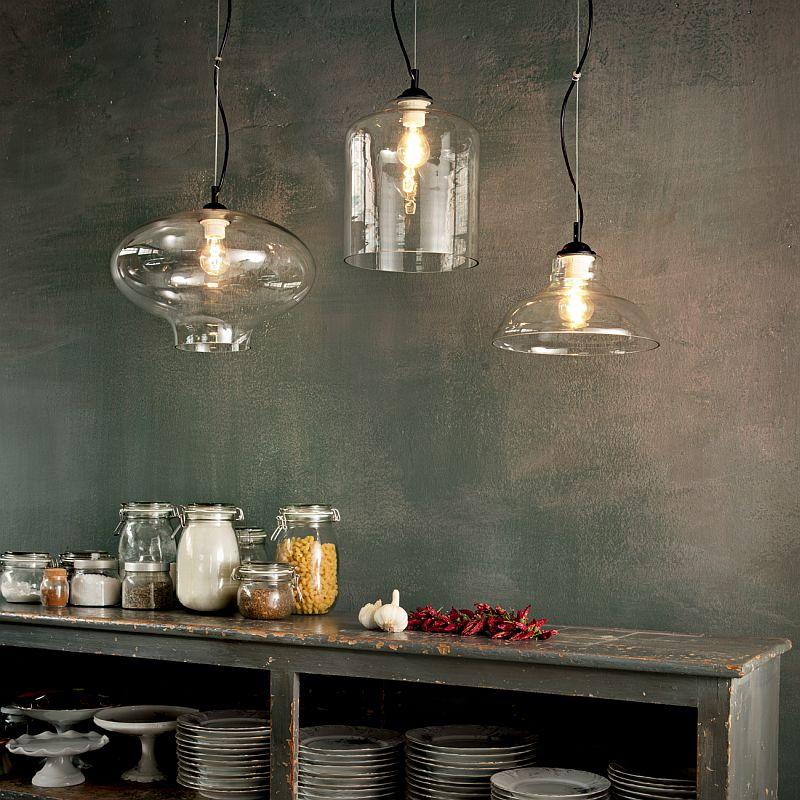 IdealLux-112343 - Bistro - Plate Smoky Glass Single Hanging Pendant