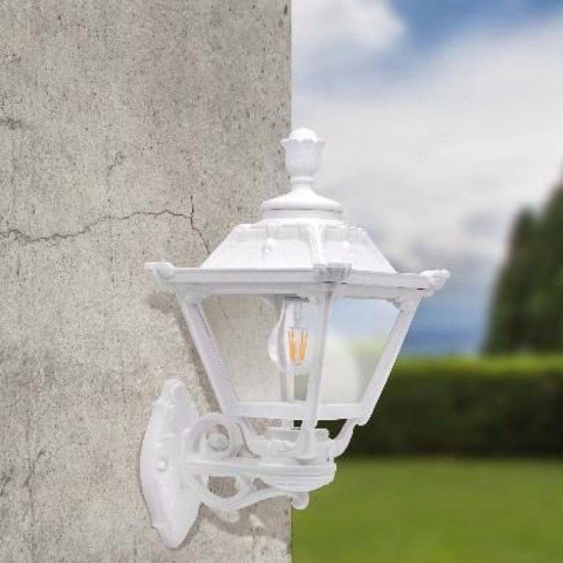 Fumagalli-FMQ23131000W - Bisso Golia - Clear with White Lantern Wall Lamp