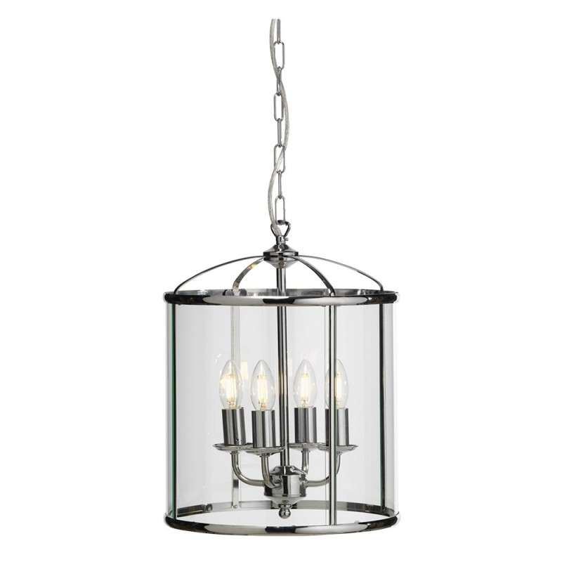 Oaks-351/4 CH - Fern - Polished Chrome with Glass 4 Light Lantern Pendant