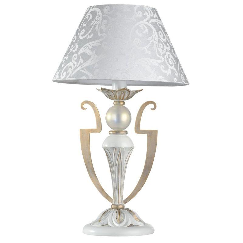 Maytoni-ARM004-11-W - Monile - Pattern White Fabric Table Lamp -White gold