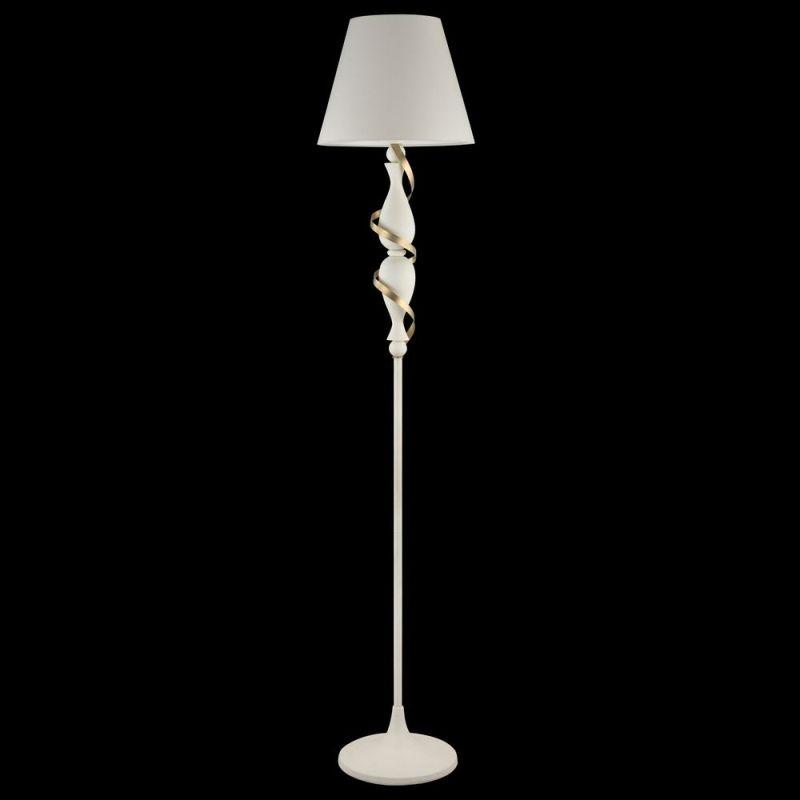 Maytoni-ARM010-01-W - Intreccio - White Fabric Floor Lamp- Gold Ribbon