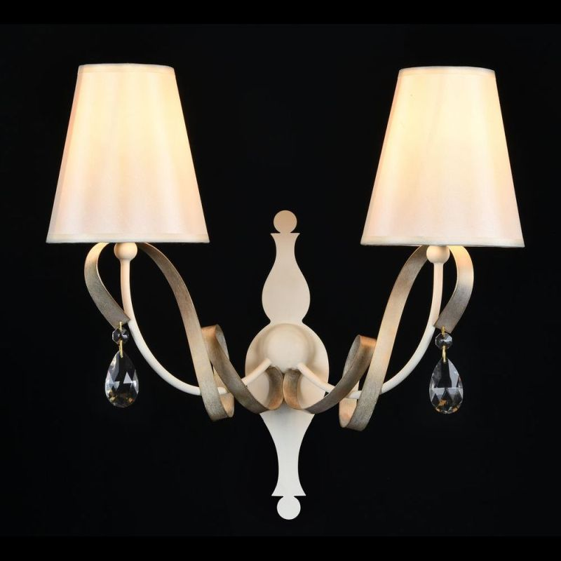 Maytoni-ARM010-02-W - Intreccio - White Fabric Twin Wall Lamp- Gold Ribbon