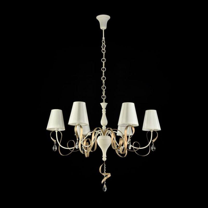 Maytoni-ARM010-06-W - Intreccio - White Fabric 6 Light Pendant- Gold Ribbon