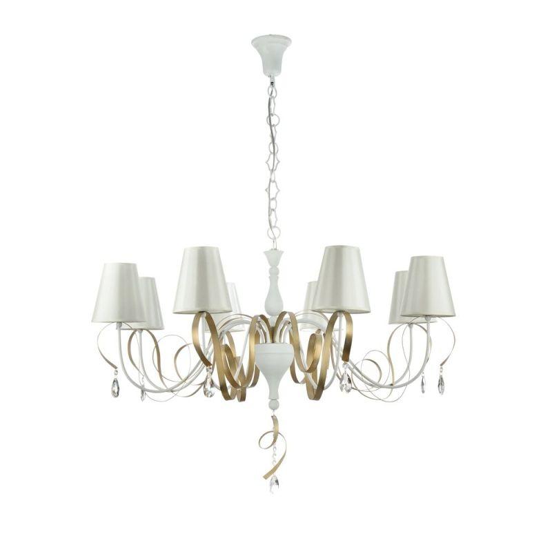 Maytoni-ARM010-08-W - Intreccio - White Fabric 8 Light Pendant- Gold Ribbon