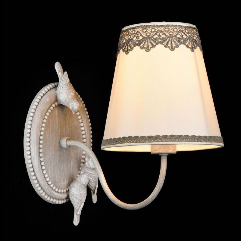 Maytoni-ARM023-01-S - Bouquet - White Fabric with Lace Wall Lamp - Antique Grey