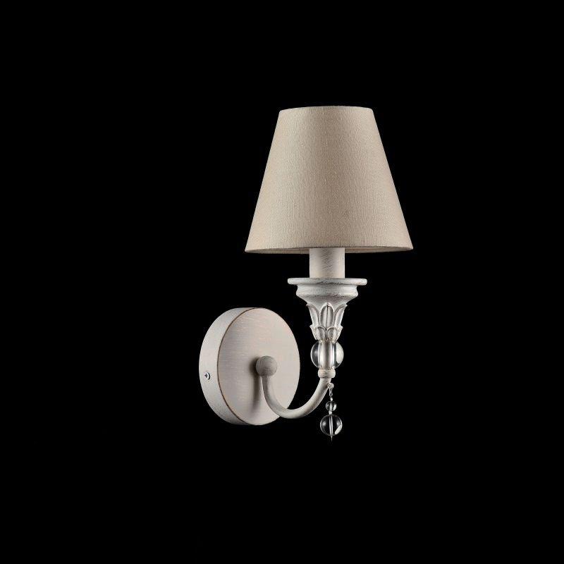 Maytoni-ARM139-01-W - Torino - Beige Fabric Wall Lamp -White Antique