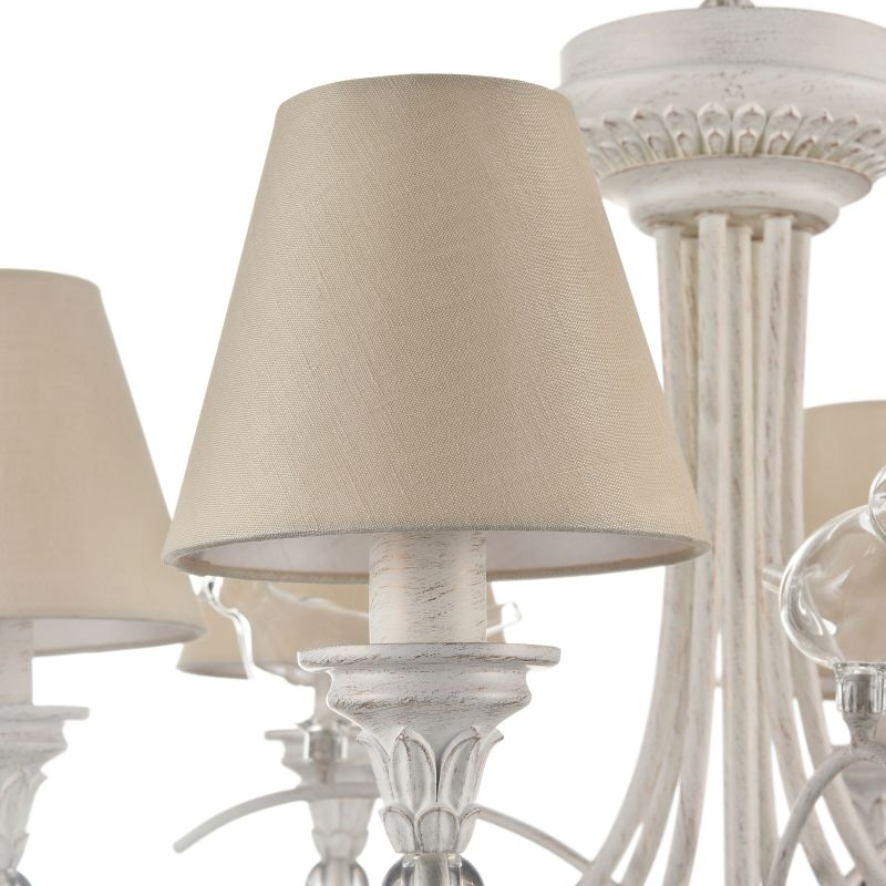 Maytoni-ARM139-06-W - Torino - Beige Fabric 6 Light Pendant -White Antique