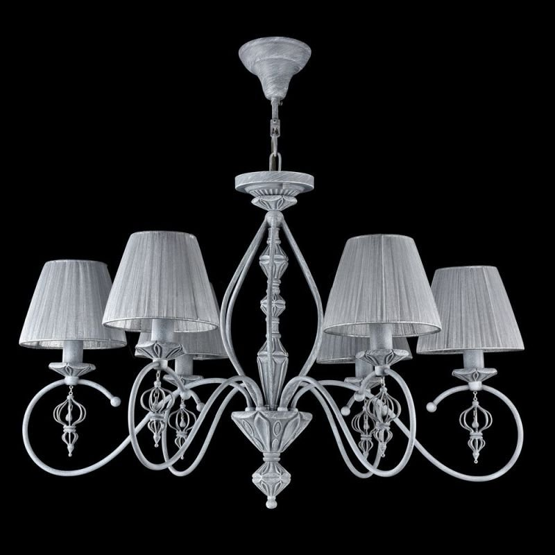 Maytoni-ARM154-06-S - Monsoon - Grey Organza 6 Light Pendant- Antique Grey