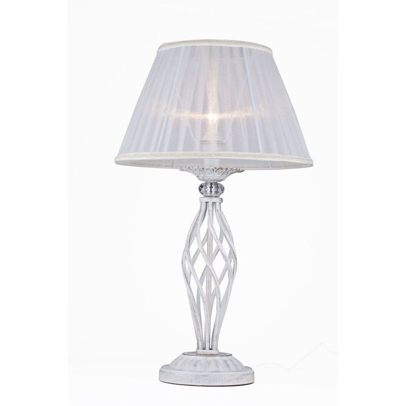 Maytoni-ARM247-00-G - Grace - White Fabric Table lamp - Crystal