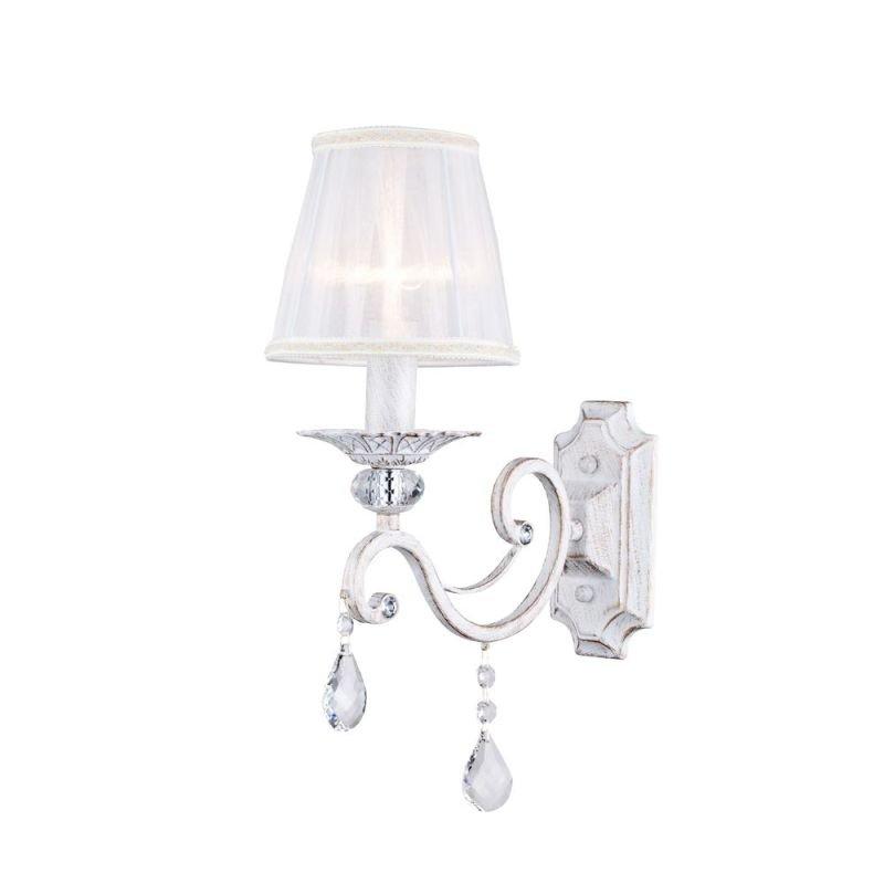 Maytoni-ARM247-01-G - Grace - White Fabric Wall lamp - Crystal