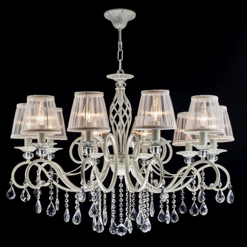 Maytoni-ARM247-10-G - Grace - White Fabric 10 light Centre Fitting - Crystal