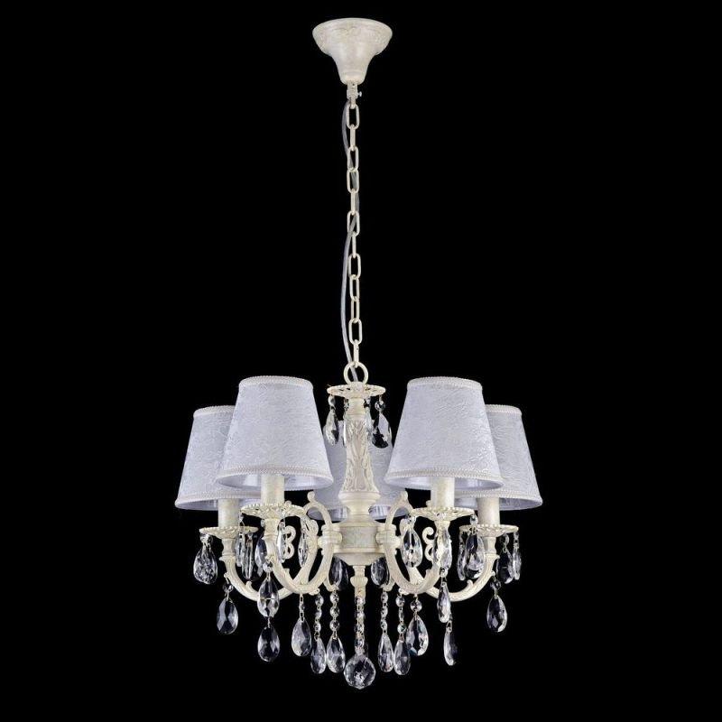 Maytoni-ARM390-05-W - Filomena - White Lace 5 Light Pendant -Crystal