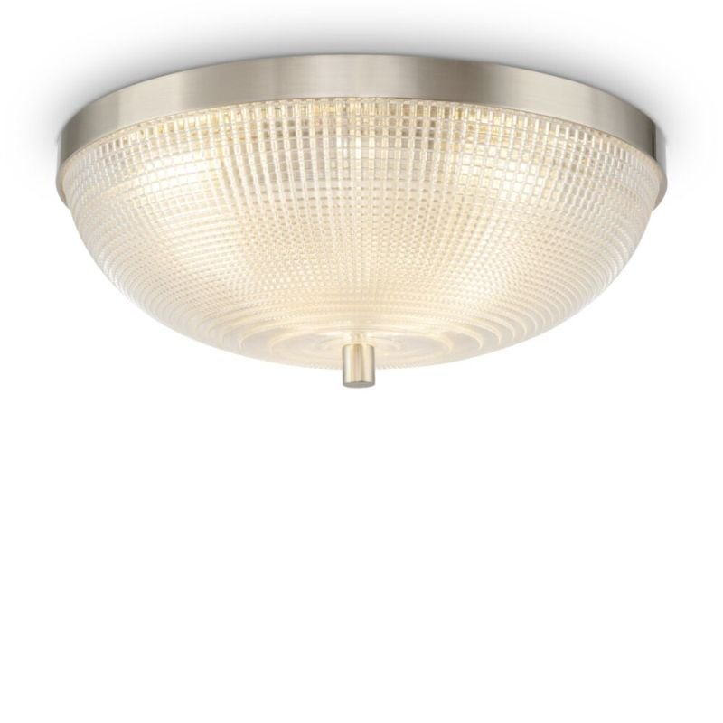 Maytoni-C046CL-03N - Coupe - Textured Glass & Nickel 3 Light Flush