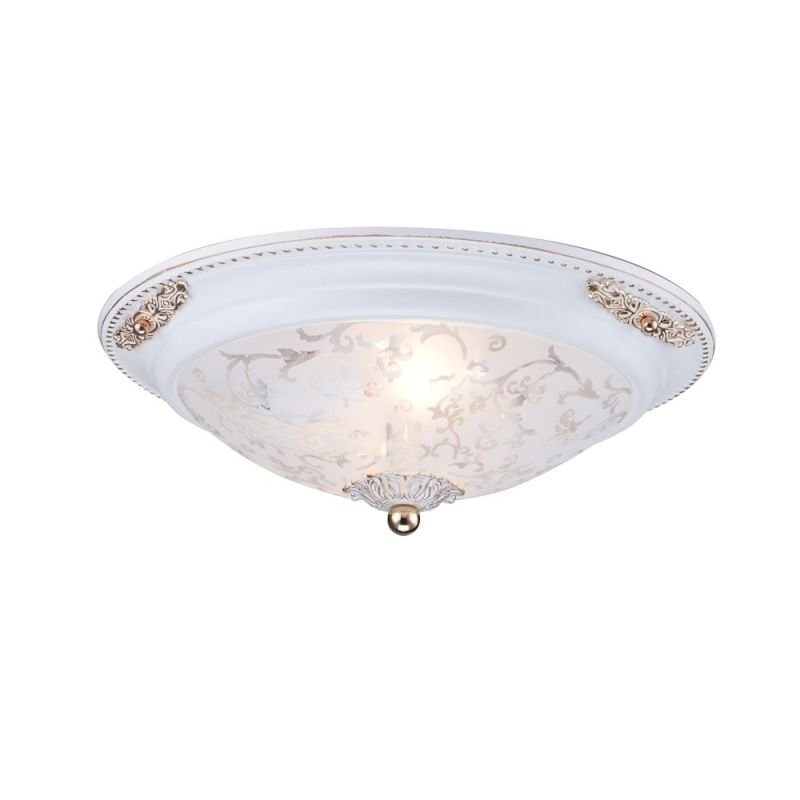Maytoni-C907-CL-02-W - Diametrik - Small Pattern Frosted Glass Flush -White gold