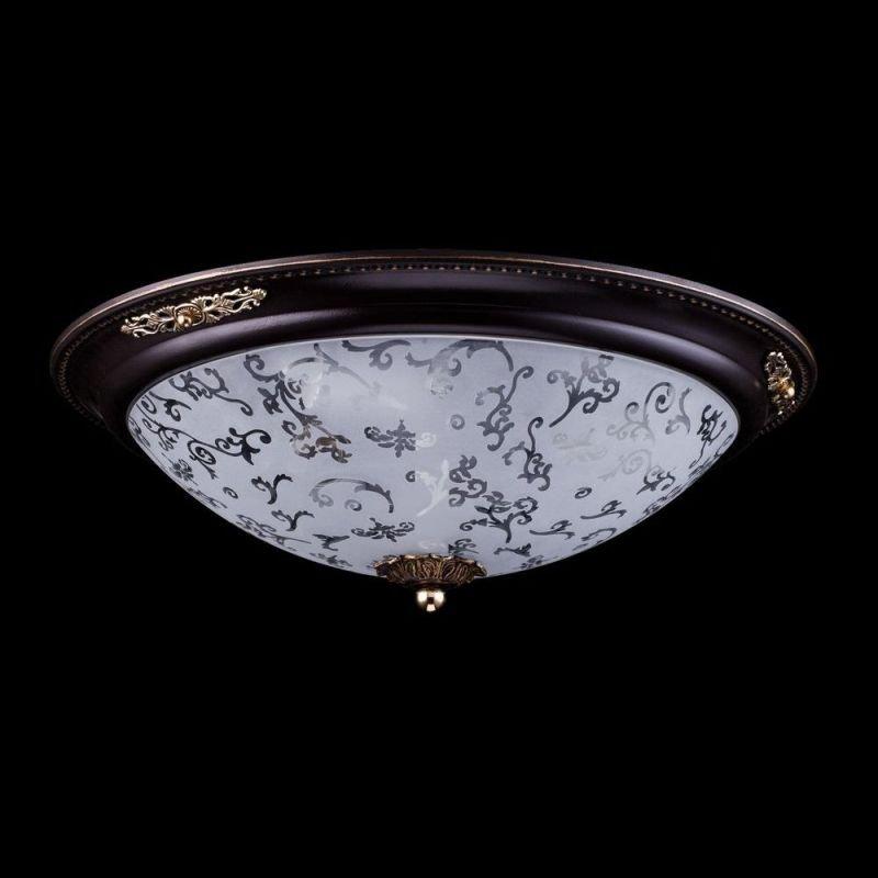 Maytoni-C907-CL-03-R - Diametrik - Medium Pattern Frosted Glass Flush -Dark Bronze
