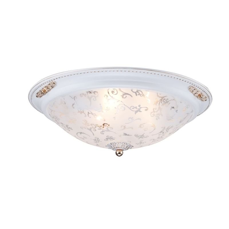 Maytoni-C907-CL-03-W - Diametrik - Medium Pattern Frosted Glass Flush -White gold