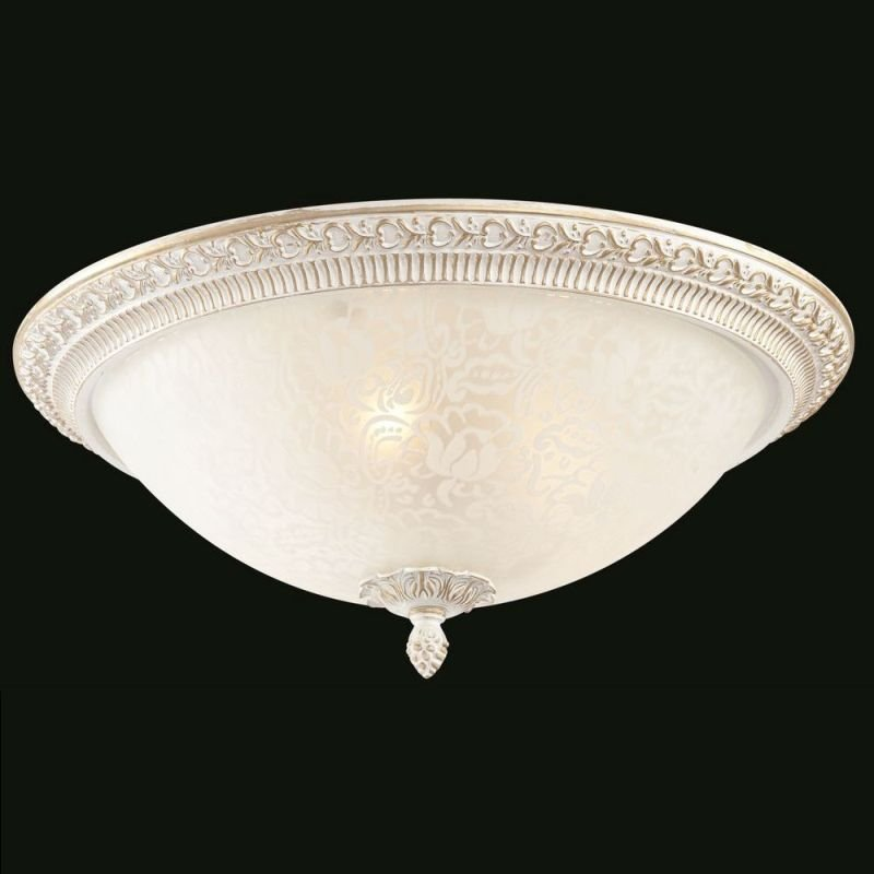 Maytoni-C908-CL-03-W - Pascal - Small Pattern Frosted Glass Ceiling Lamp -White