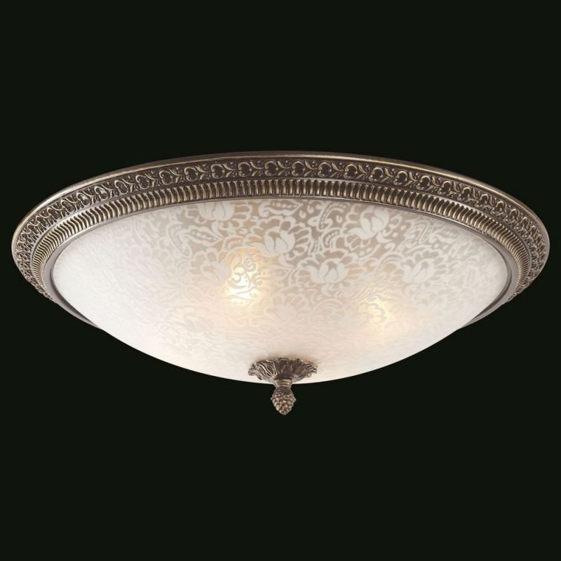 Maytoni-C908-CL-04-R - Pascal - Big Pattern Frosted Glass Ceiling Lamp -Bronze