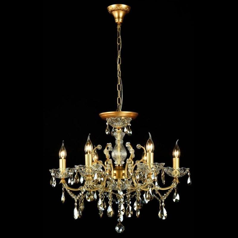 Maytoni-DIA004-06-G - Sevilla - Crystal 6 Light Chandelier -Gold