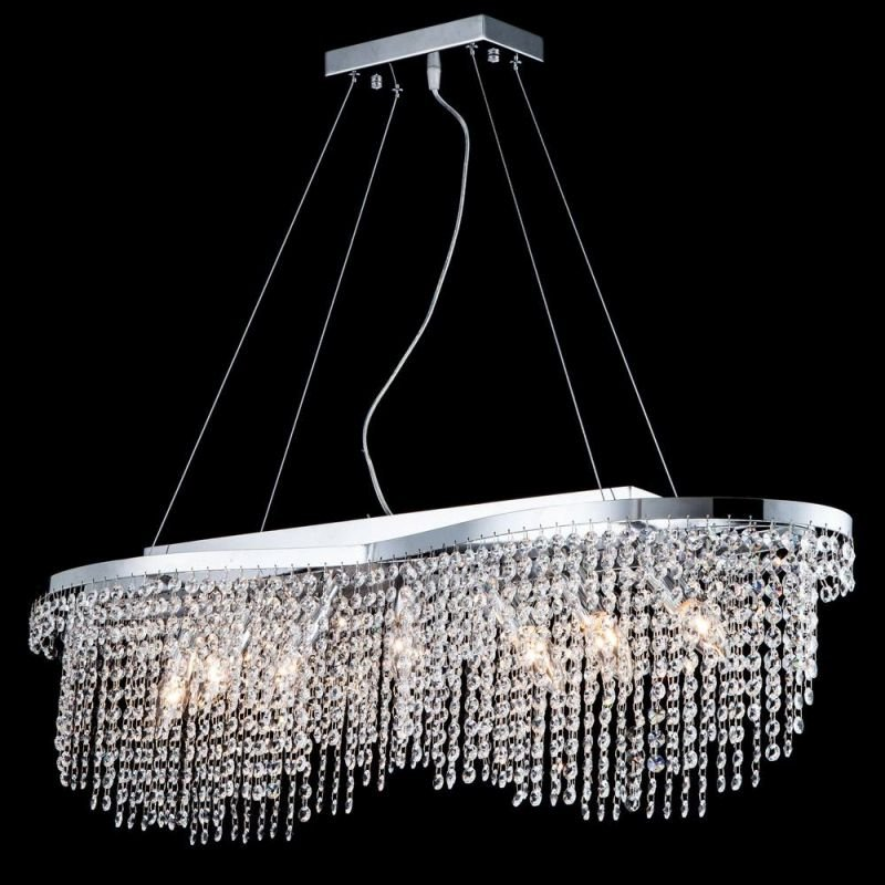 Maytoni-DIA600-07-N - Toils - Crystal 7 Light Oval over Island Fitting -Nickel