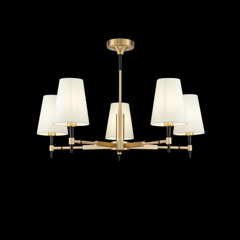 Maytoni-H001CL-05BS - Zaragoza - White Fabric & Gold 5 Light Centre Fitting