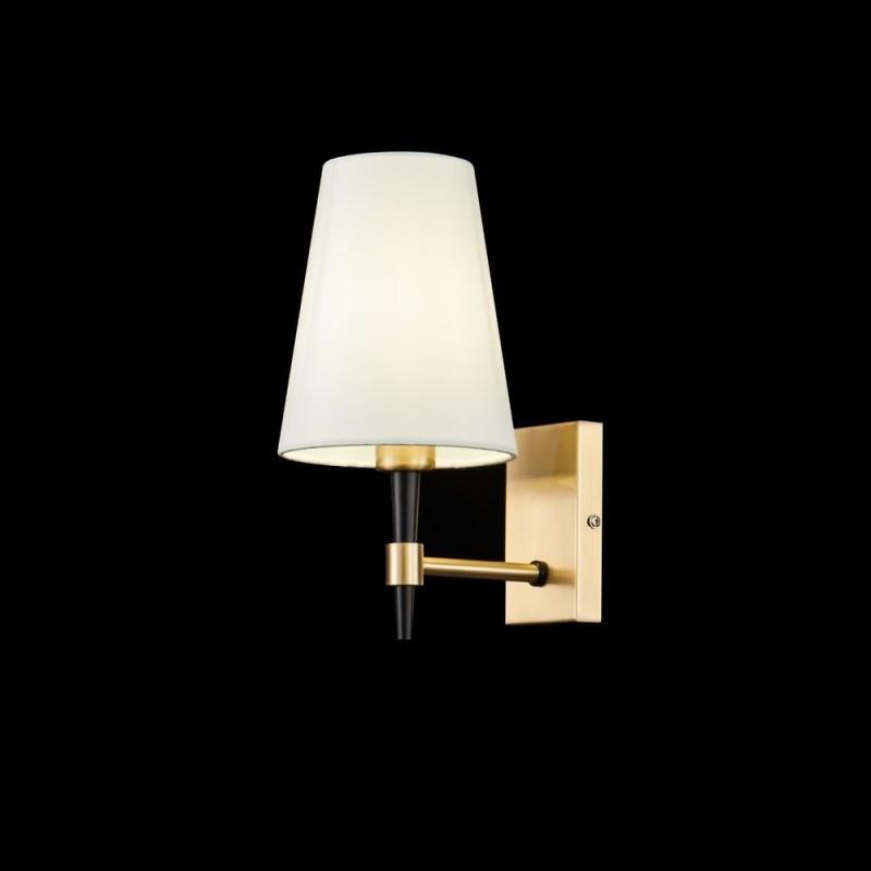 Maytoni-H001WL-01BS - Zaragoza - White Fabric & Gold Wall Lamp