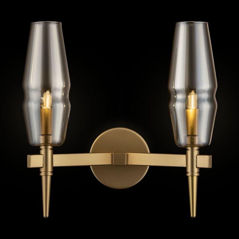 Maytoni-H002WL-02G - Lita - Amber Glass with Gold 2 Light Wall Lamp