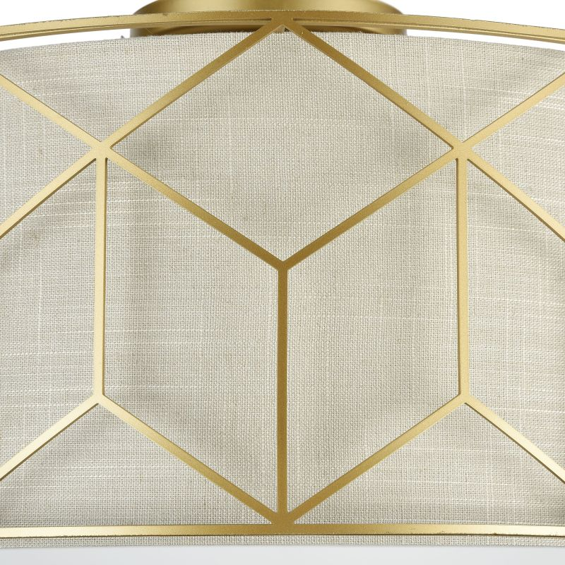 Maytoni-H223-PL-03-G - Messina - Linen with Stencil Pattern 3 Light Ceiling Lamp