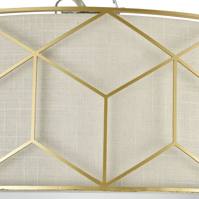 Maytoni-H223-PL-05-G - Messina - Linen with Stencil Pattern 5 Light Ceiling Lamp
