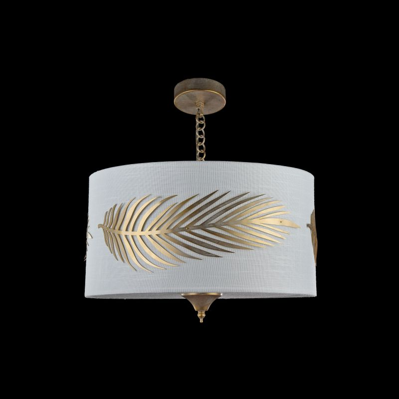 Maytoni-H428-PL-03-WG - Farn - Fabric 3 Light Pendant with Stencil Pattern Leaf