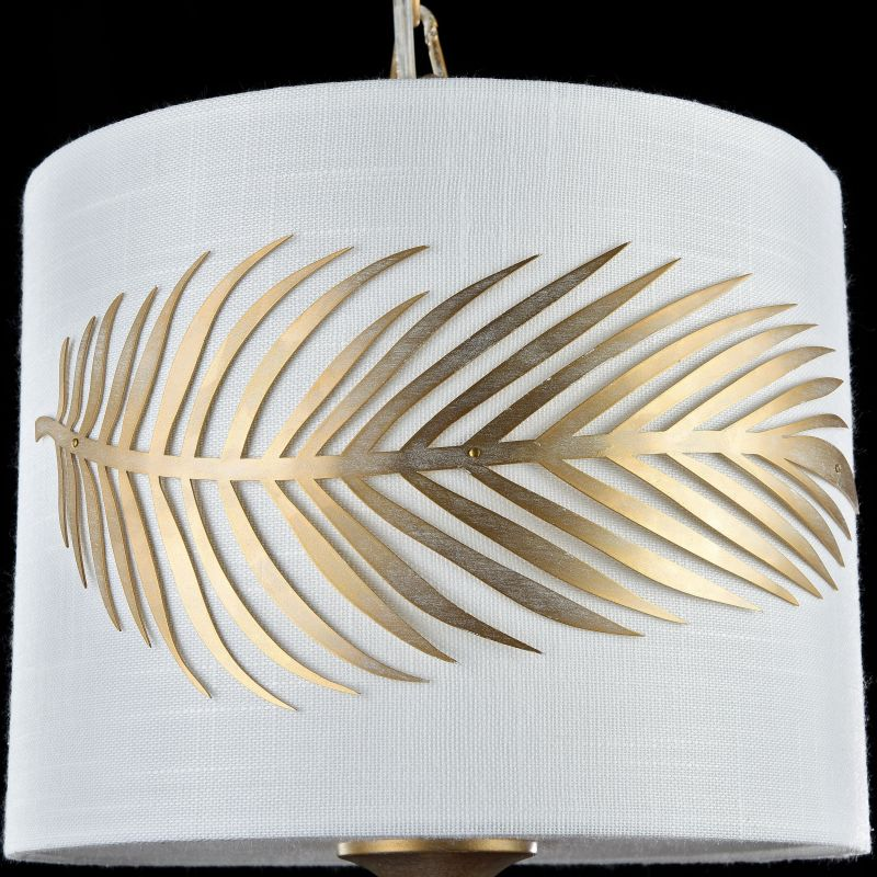 Maytoni-H428-PL-01-WG - Farn - Fabric Single Pendant with Stencil Pattern Leaf