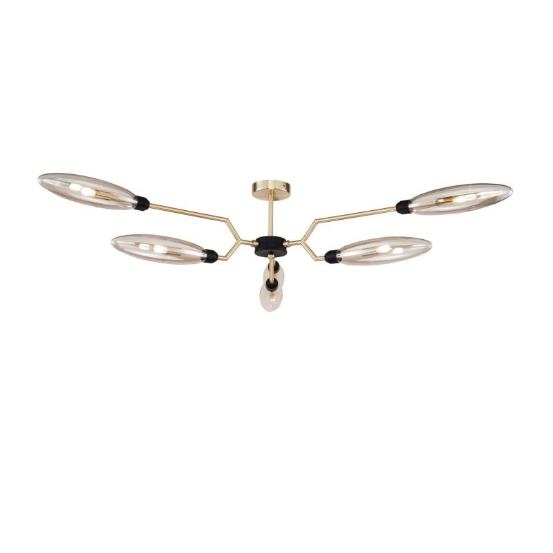 Maytoni-MOD012CL-06G - Ventura - Amber Glass with Gold & Black 6 Light Semi-Flush