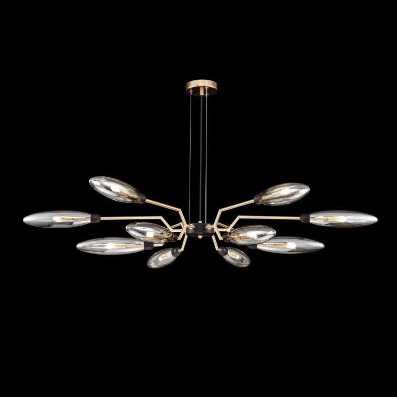 Maytoni-MOD012CL-12G - Ventura - Amber Glass with Gold & Black 12 Light Pendant