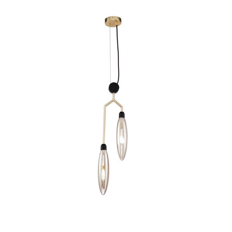 Maytoni-MOD012PL-02G - Ventura - Amber Glass with Gold & Black 2 Light Pendant
