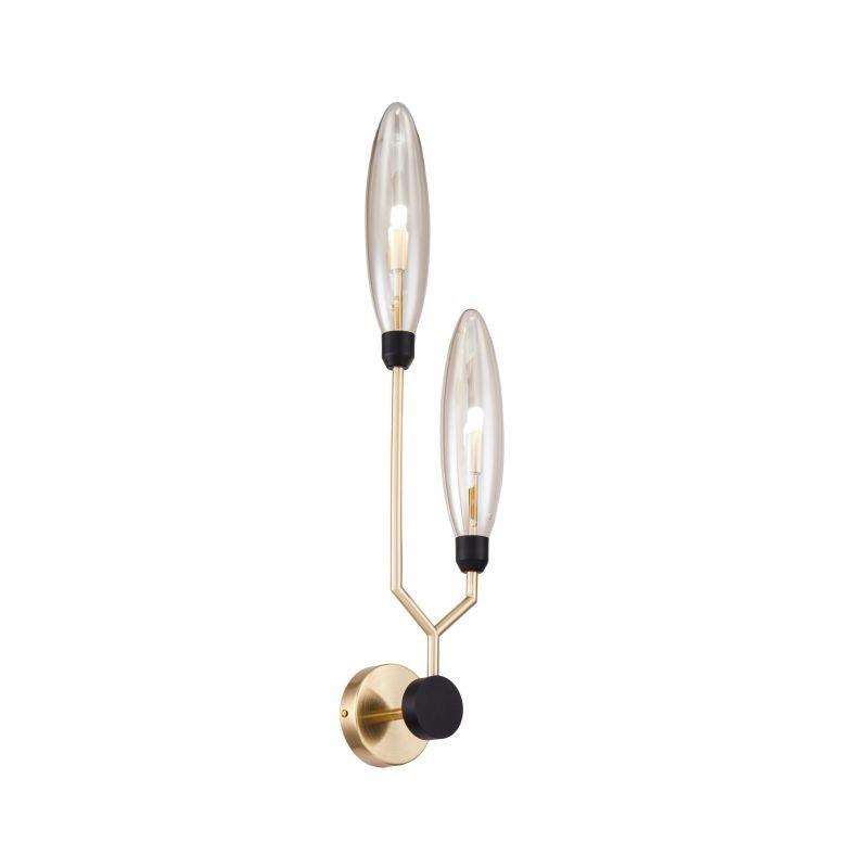 Maytoni-MOD012WL-02G - Ventura - Amber Glass with Gold & Black 2 Light Wall Lamp