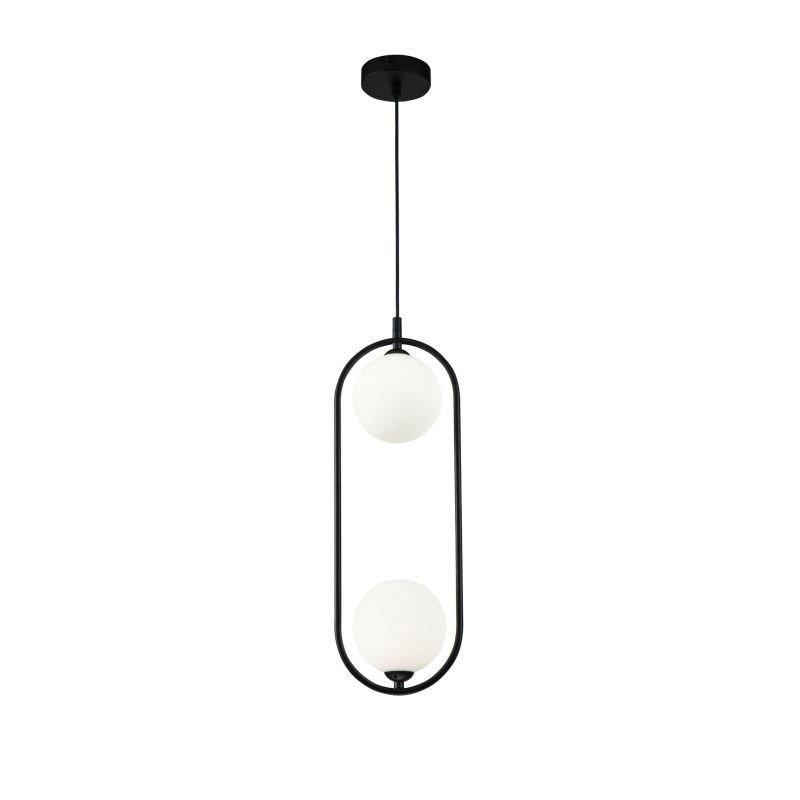 Maytoni-MOD013PL-02B - Ring - White Glass Ball & Black 2 Light Pendant