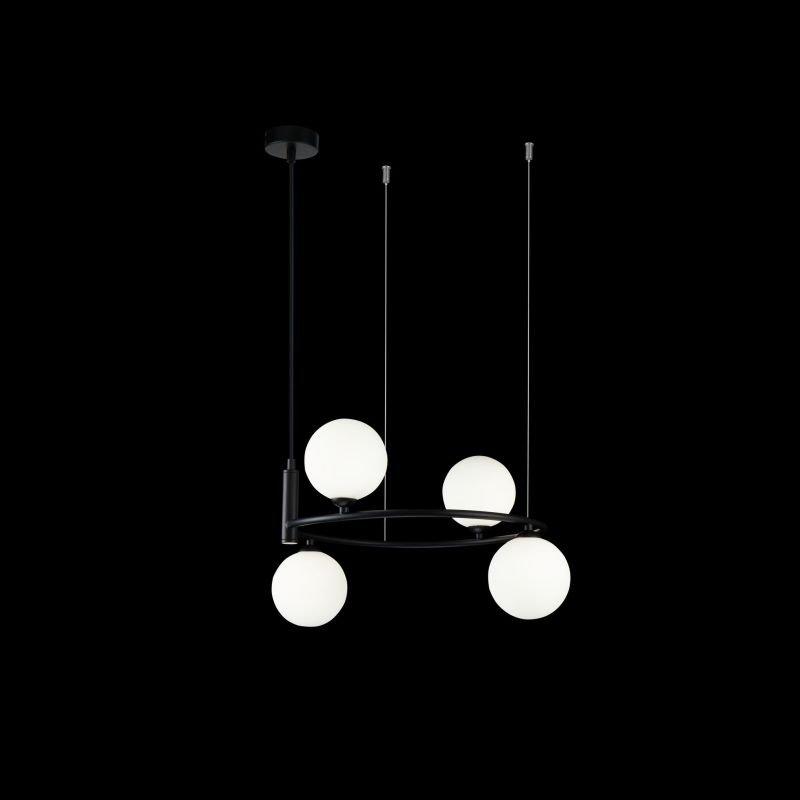 Maytoni-MOD013PL-04B - Ring - White Glass Ball & Black 4 Light Centre Fitting