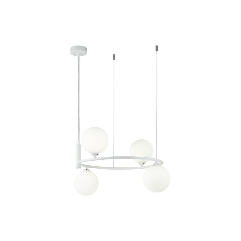 Maytoni-MOD013PL-04W - Ring - White Glass Ball & White 4 Light Centre Fitting