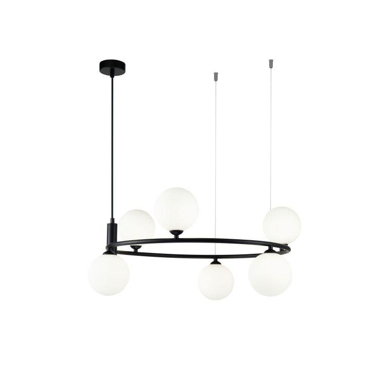 Maytoni-MOD013PL-06B - Ring - White Glass Ball & Black 6 Light Centre Fitting